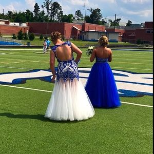ROYAL BLUE & OFF WHITE PROM DRESS